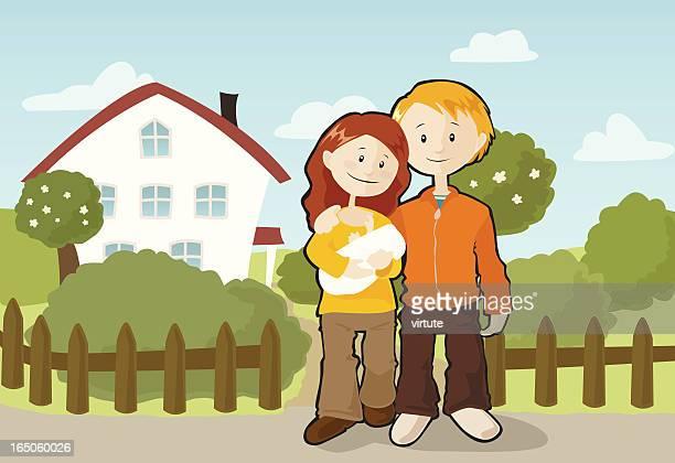 illustrations, cliparts, dessins animés et icônes de heureuse famille - devant