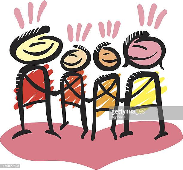 happy family - ethnicity stock illustrations