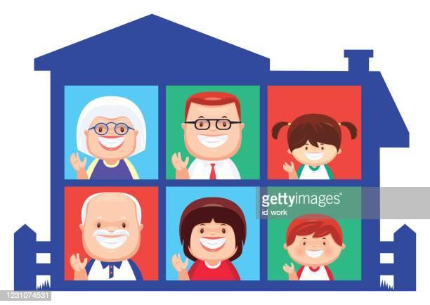 happy family waving - senior citizen clipart stock illustrations