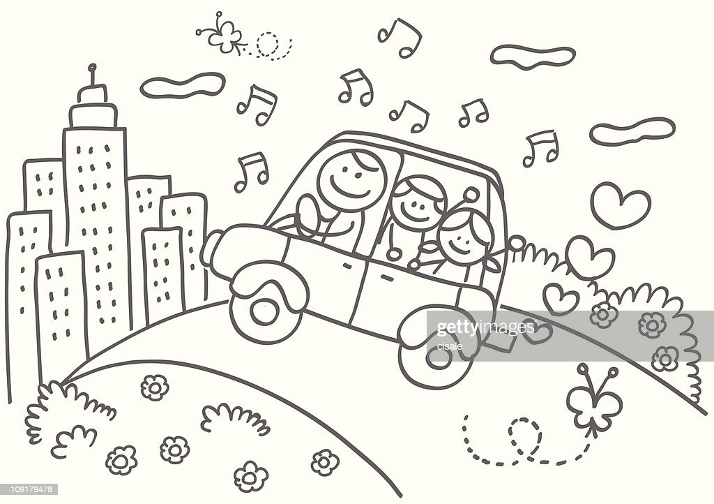 happy family with father,children riding car to skyline cartoon