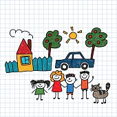Happy family with house and car