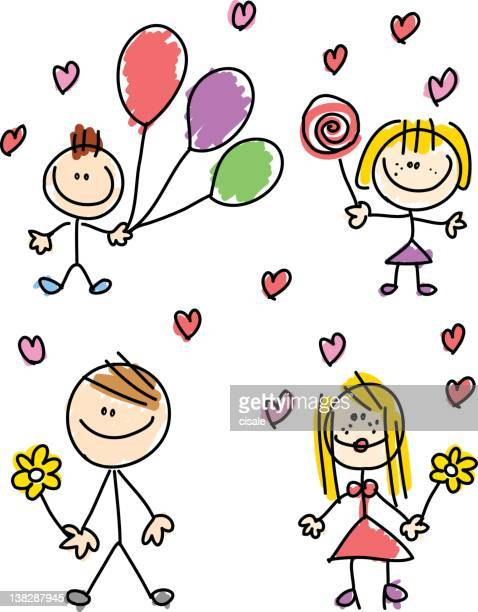 happy family with mother father daughter son children cartoon illustration