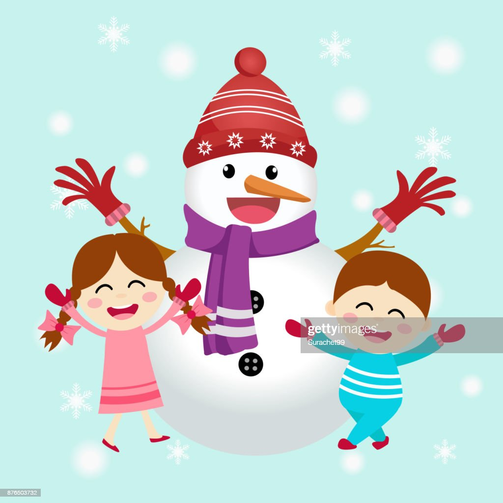 Happy family with snowman. Winter season and new year concept vector illustration.