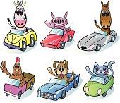 Happy farm animals in their cars