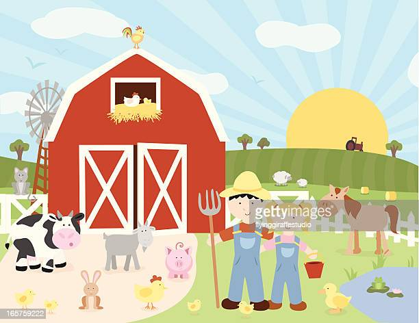 ilustraciones, imágenes clip art, dibujos animados e iconos de stock de feliz farm escena - granja