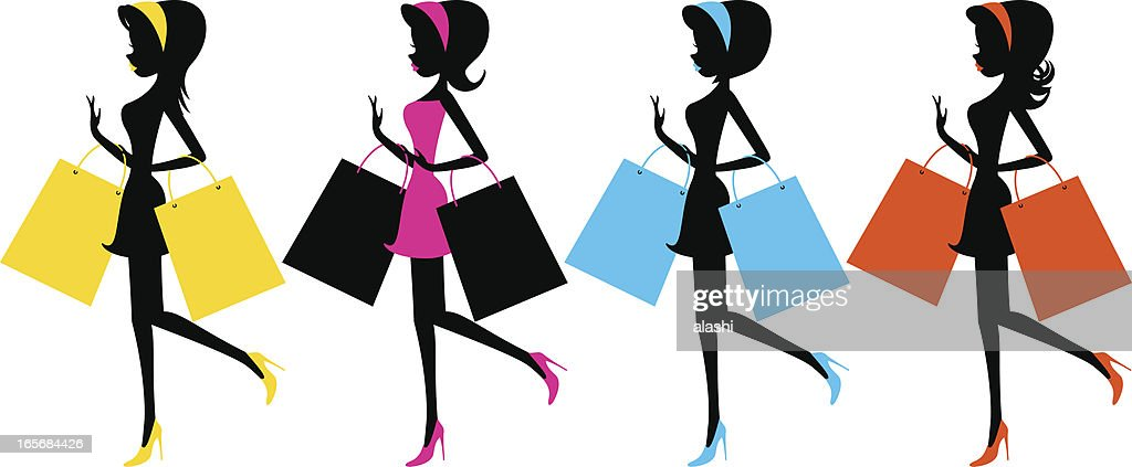 Happy fashion girls with shopping bags