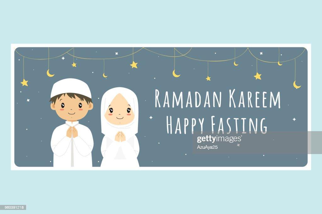 Happy Fasting, Ramadan Kareem Banner Vector