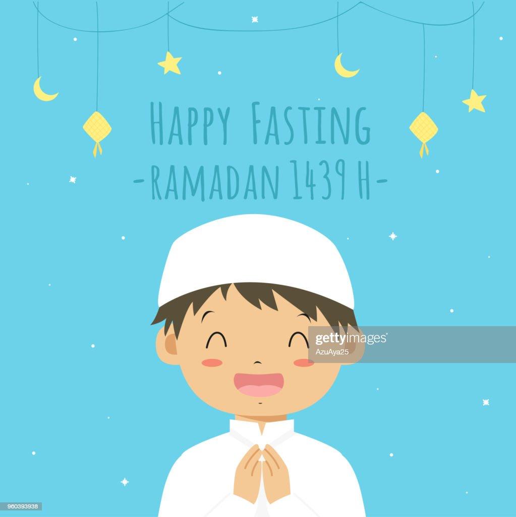 Happy Fasting Ramadan Kareem Card, Happy Muslim Boy Vector