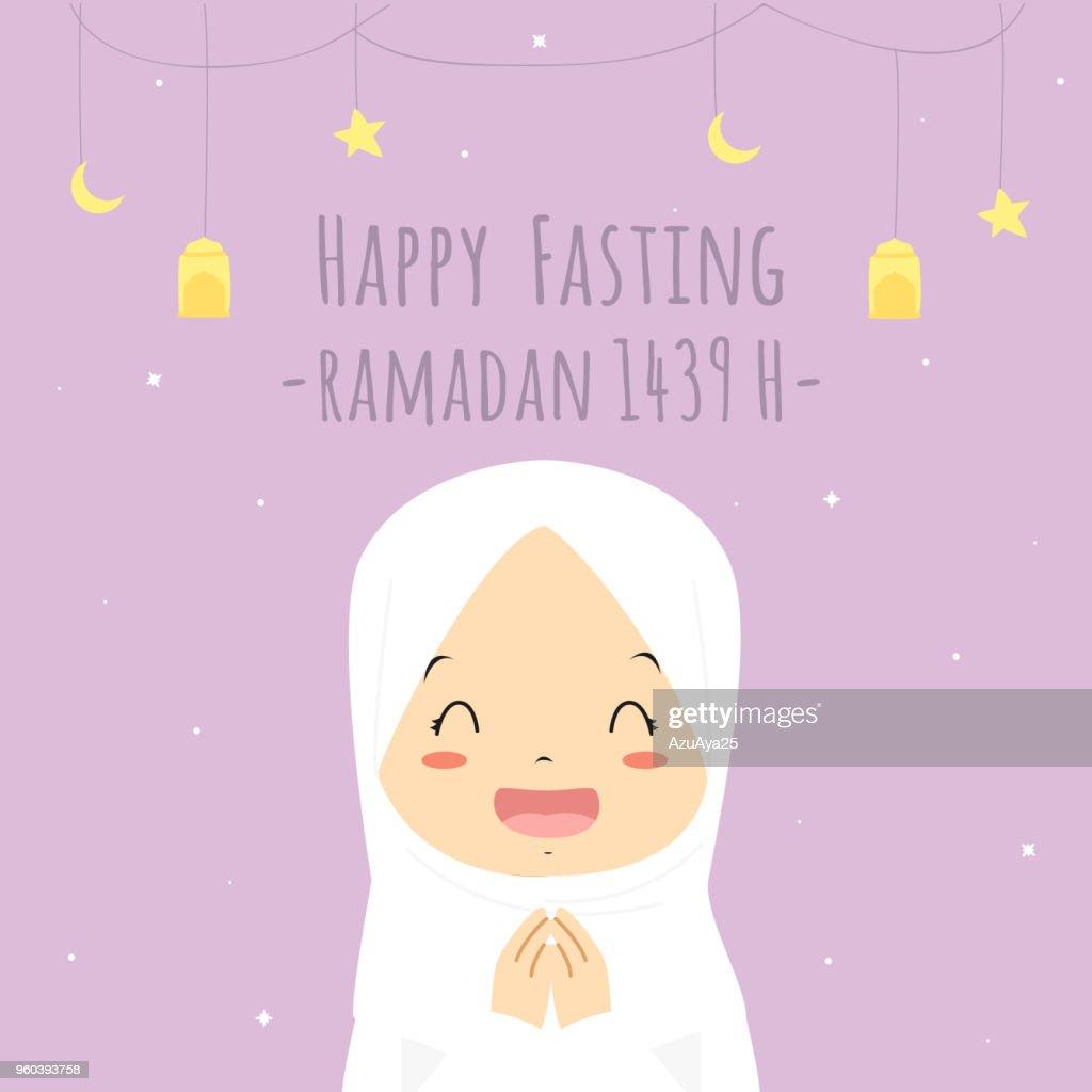 Happy Fasting Ramadan Kareem Card, Happy Muslim Girl Vector