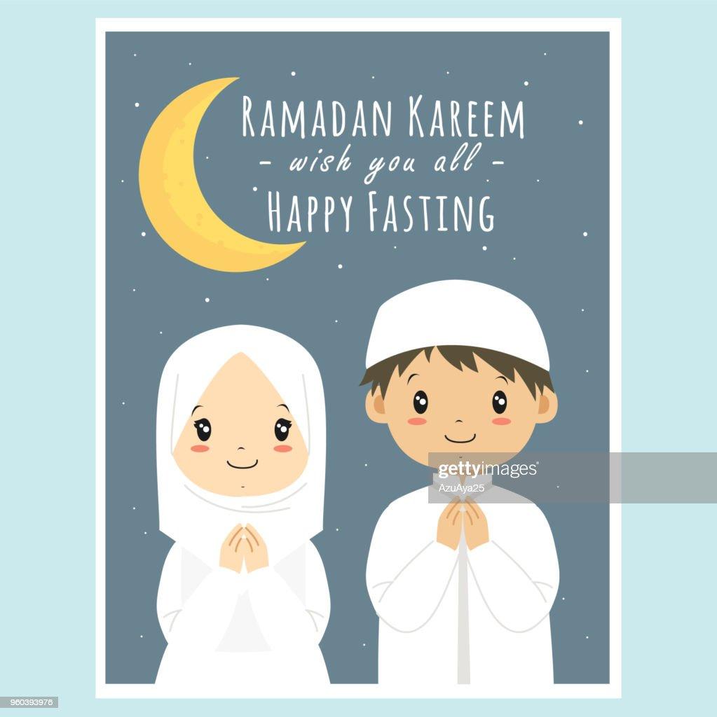 Happy Fasting, Ramadan Kareem Greeting Card Vector