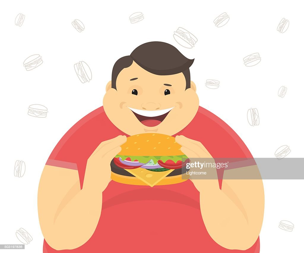 Happy fat man eating a big hamburger