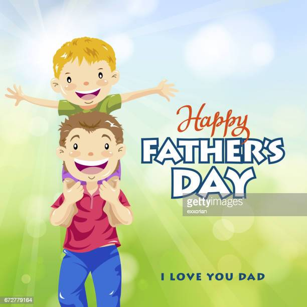 happy father and son - fathers day stock illustrations