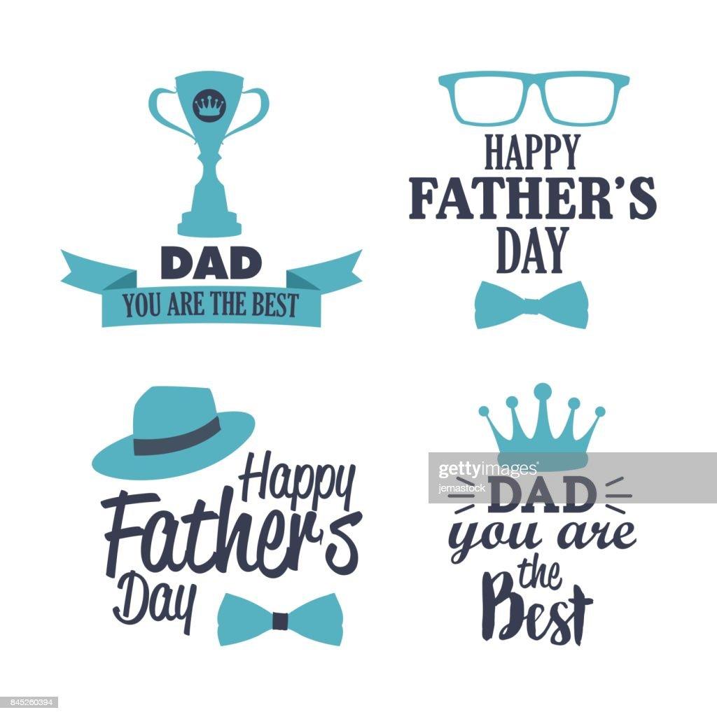 happy father day best dad badge element set blue tone design