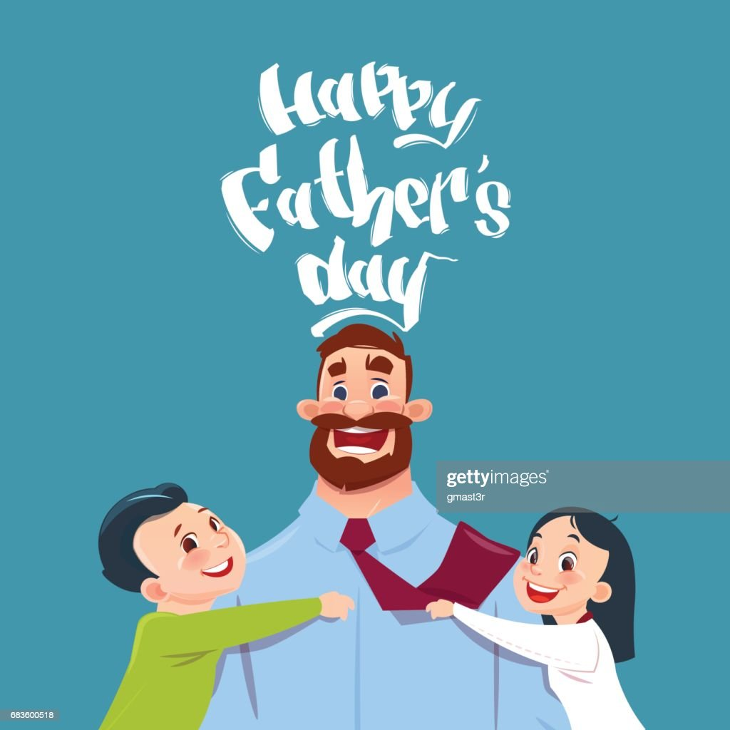 Happy Father Day Family Holiday, Daughter And Son Embracing Dad Greeting Card