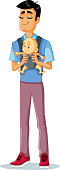 Happy Father Holding Baby in Sling Vector Illustration