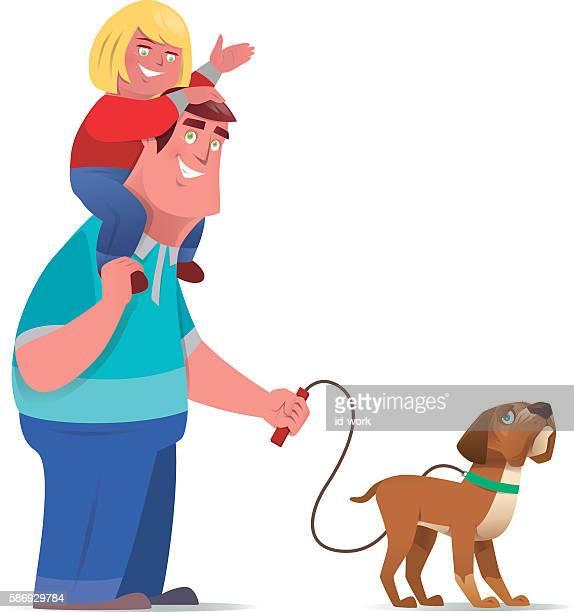 illustrations, cliparts, dessins animés et icônes de heureux père et fille - chien humour