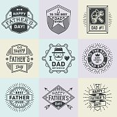 Happy Father`s Day assorted design insignias logotypes set.