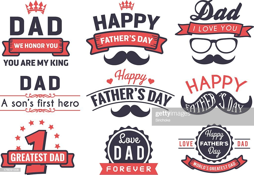 Happy Father's Day Badge Logo Vector Element Set