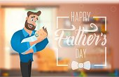 Happy Fathers Day Banner with Cartoon Characters.