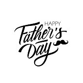 Happy Father's Day calligraphic lettering design celebrate card template. Creative typography for holiday greetings and invitations.