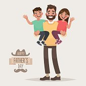Happy Father's Day. Dad with his son and daughter in his arms. Greeting card for the holiday