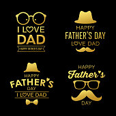 Happy Father's day gold design collections background