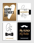 Happy Father's Day greetings card set. Best Dad ever poster design, hand drawn lettering