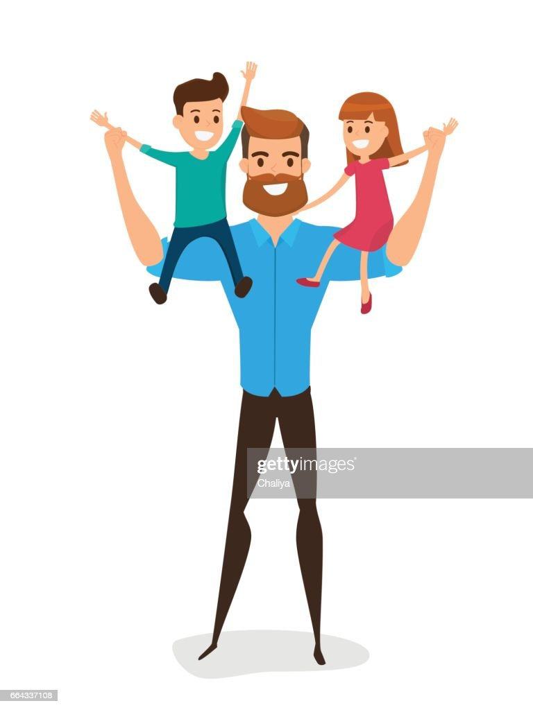 Happy Father's Day. Happy family concept. Dad carrying little son and little daughter on his shoulders.