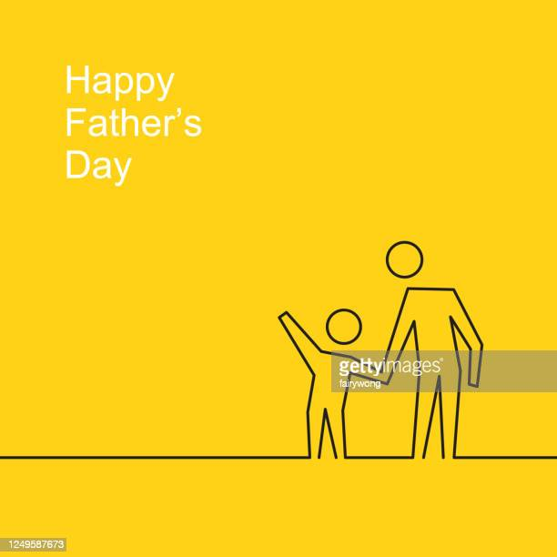 happy father's day - son holding father's hand with in line art style - fathers day stock illustrations