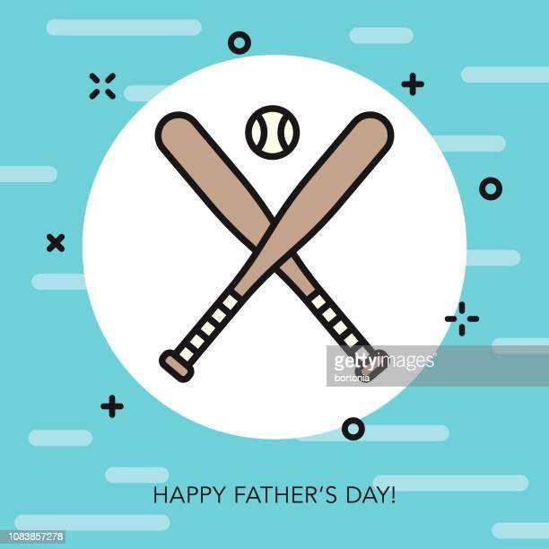 happy father's day thin line icon - baseball bat stock illustrations, clip art, cartoons, & icons