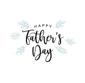Happy Father's Day Vector Calligraphy Text With Blue Leaves
