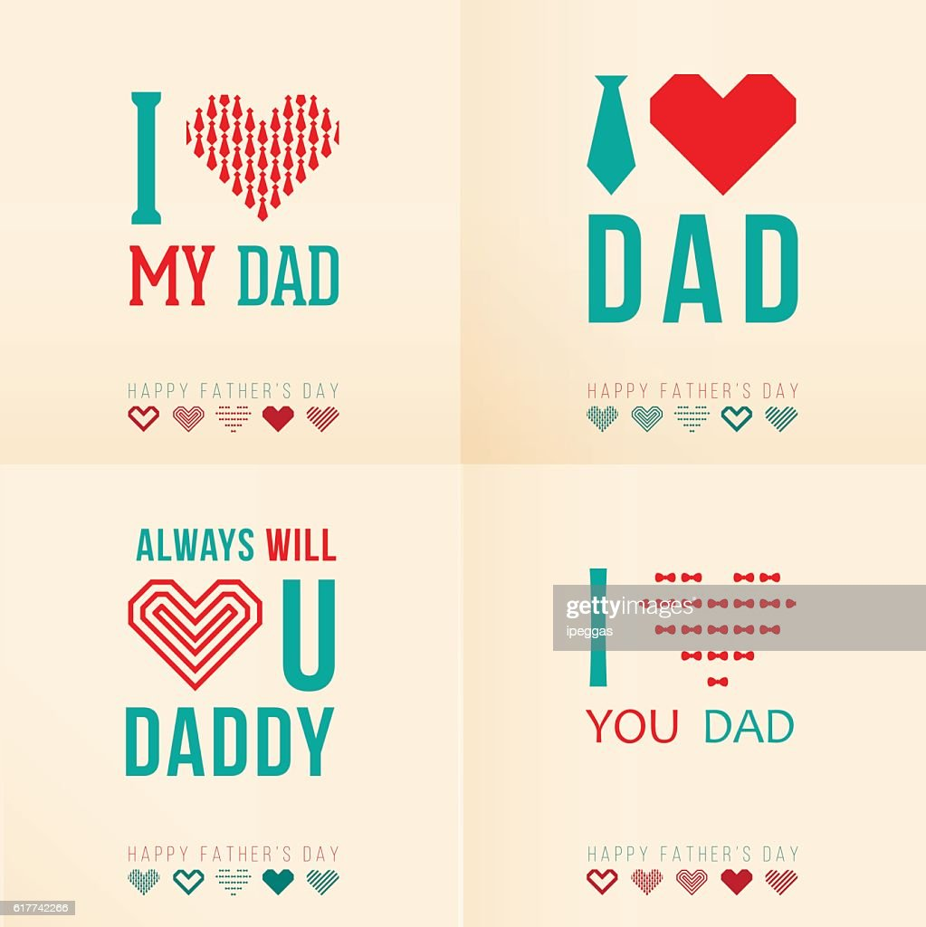 Happy Father's Day Vector Element Set