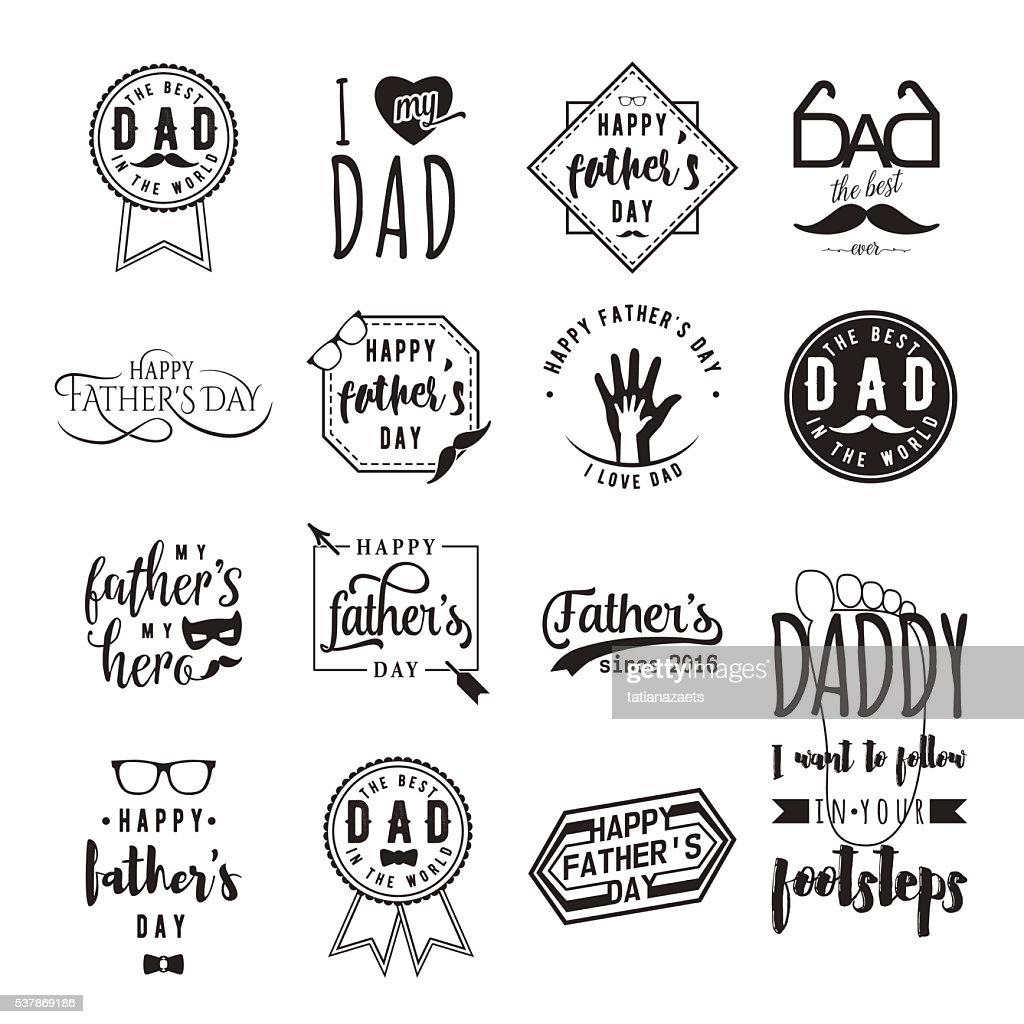 Happy fathers day wishes overlays, lettering labels design set. Retro