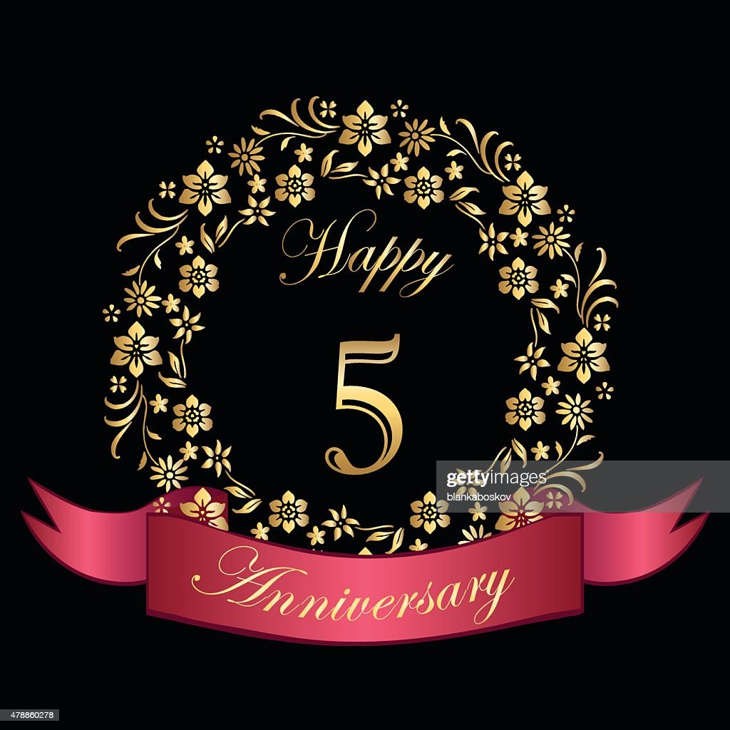 Happy fifth anniversary card vector art getty images happy fifth anniversary card vector art kristyandbryce Choice Image