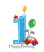 Happy first birthday candle. Baby boy greeting card with race car