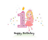Happy first birthday candle. Girl greeting card with cute fairy tale holding one number