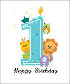 Happy first birthday with animals baby boy greeting card