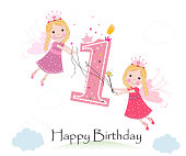 Happy first birthday with cute fairy tale greeting card