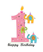 Happy first birthday with elephants baby girl greeting card