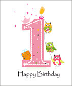 Happy first birthday with owls baby boy greeting card