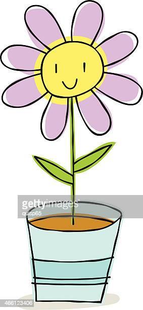 ilustrações de stock, clip art, desenhos animados e ícones de feliz flor-sarrabisco - planta de vaso