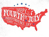 Happy Fourth of July hand-lettering greeting card