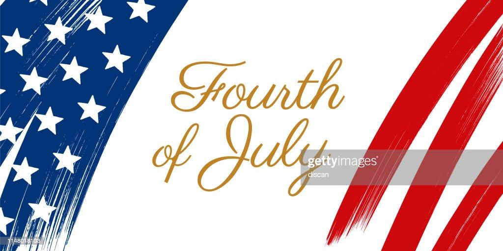 7月4日のハッピー・ユナイテッドが独立記念デーの挨拶を述べた。 : ストックイラストレーション