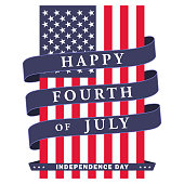 Happy fourth of July. USA independence day background with american flag, ribbon and lettering. Vector EPS 10.