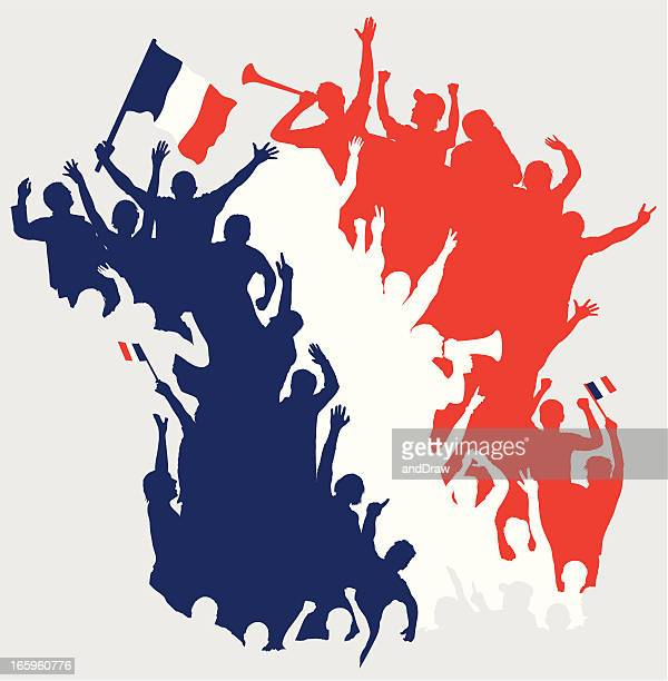 happy french fans in shape of france map. - france stock illustrations