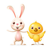 Happy friends celebrate Spring or Easter - Bunny and Chicken playing and singing