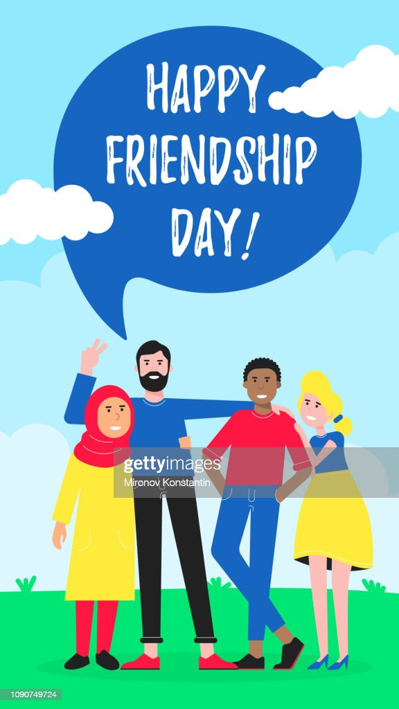 Happy friends from all around the world hugging, happy international friendship day flat style design character vector illustration. Diversity and no limits friendship vertical version.