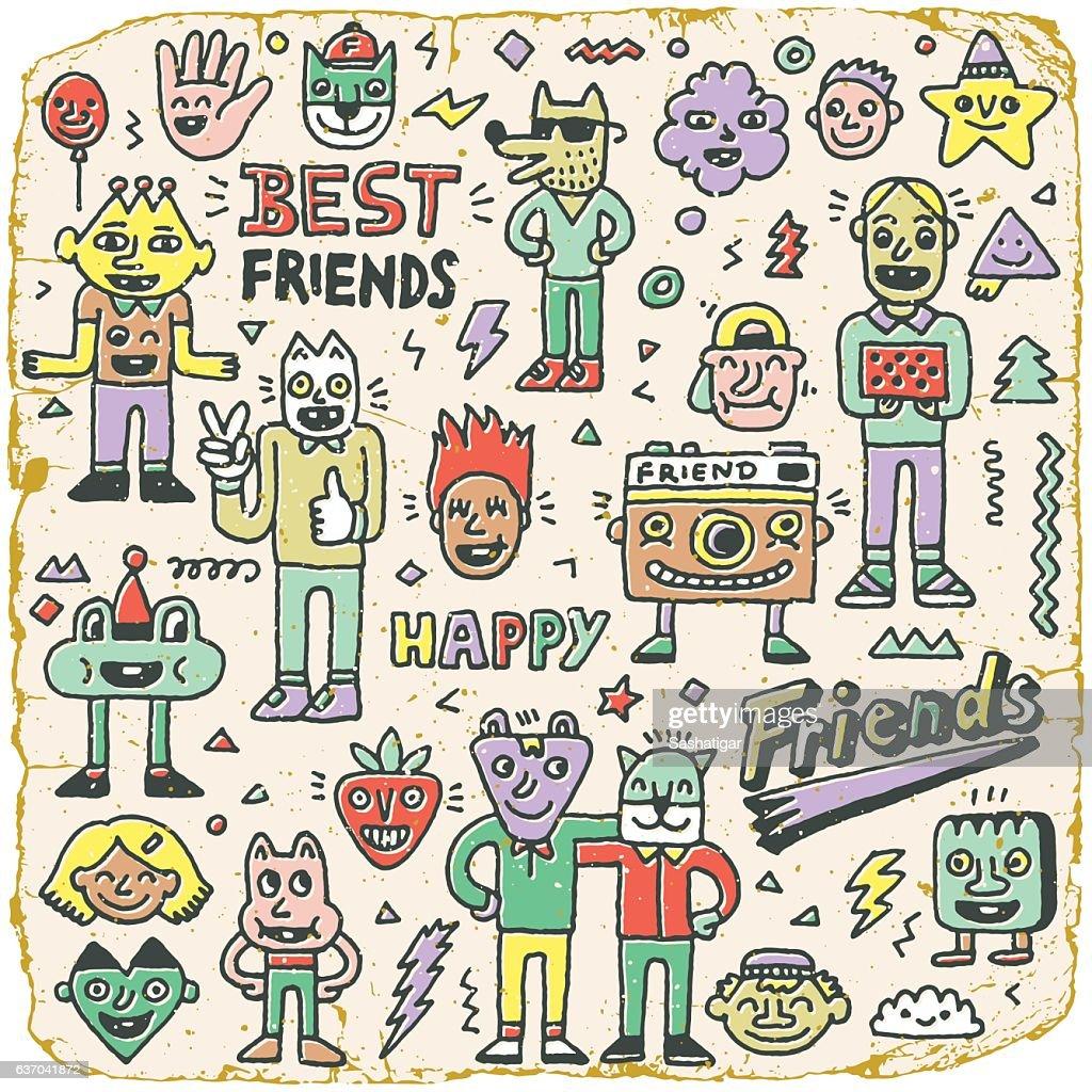 Happy Friendship Day. Best Friends Funny Cartoon Doodle Set.