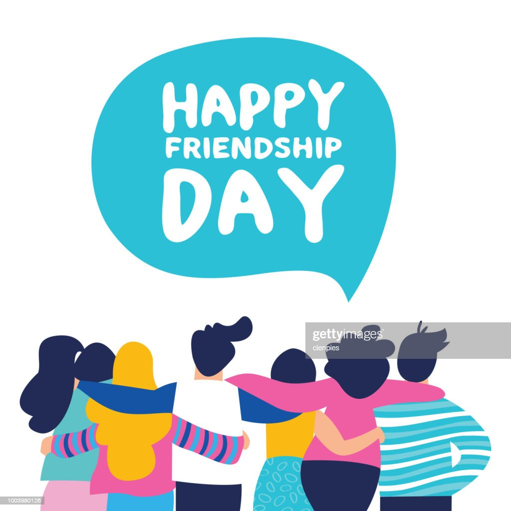 Happy Friendship day card of friend group team hug