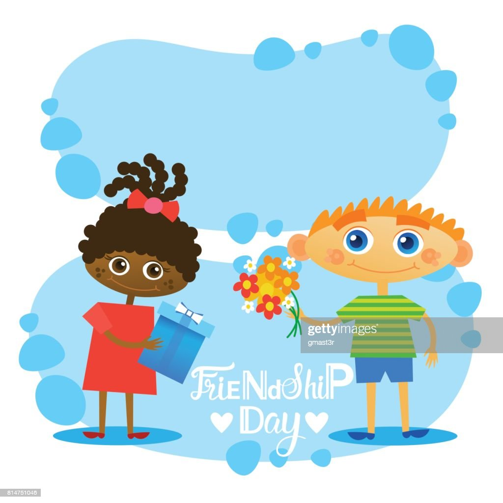 Happy Friendship Day Greeting Card Friends Holiday Banner Vector Art